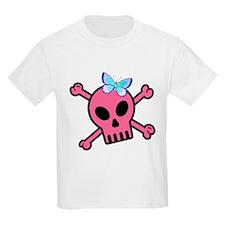 Pink Butterfly Catcher Skull T-Shirt