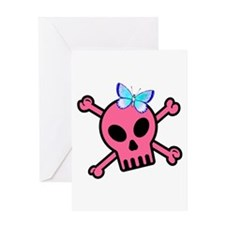 Pink Butterfly Catcher Skull Greeting Card
