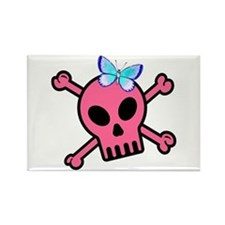 Pink Butterfly Catcher Skull Rectangle Magnet