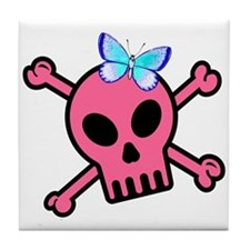 Pink Butterfly Catcher Skull Tile Coaster