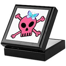 Pink Butterfly Catcher Skull Keepsake Box