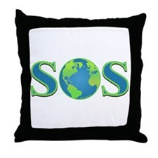 SOS earth Throw Pillow