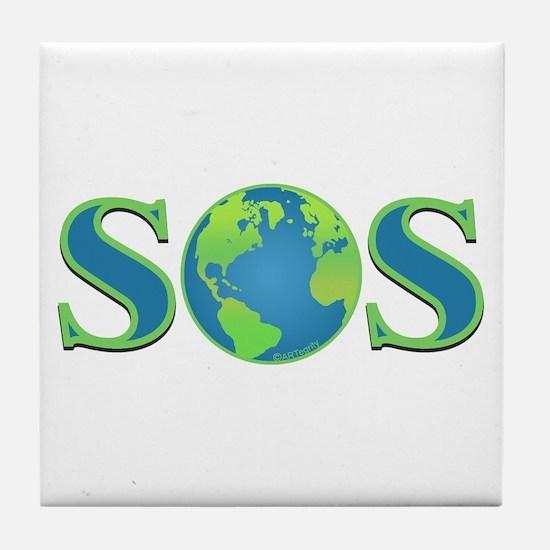 SOS earth Tile Coaster