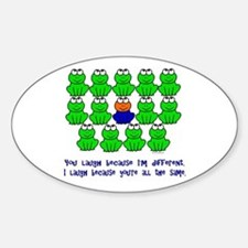 Being Different FROGS 3 Oval Decal