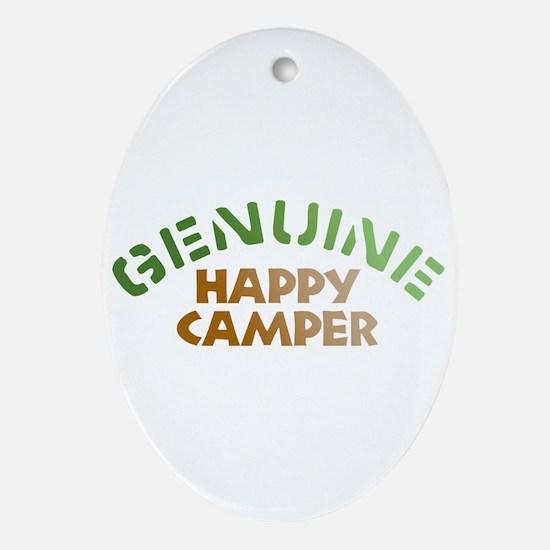 Genuine Happy Camper Oval Ornament