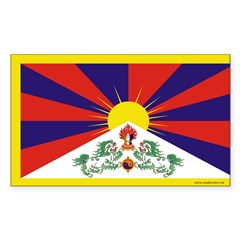 Tibetan Flag Rectangle Sticker 10 pk)