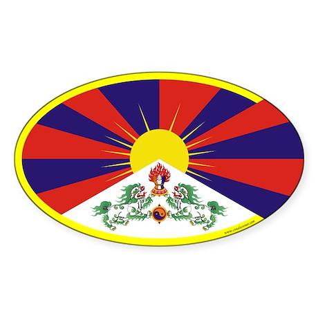 Tibetan Flag Oval Sticker (10 pk)