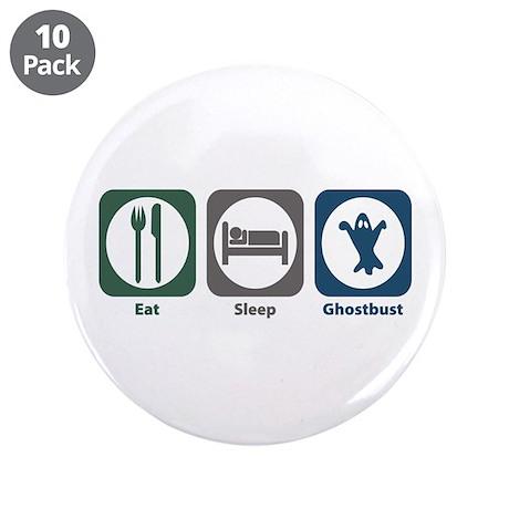 """Eat Sleep Ghostbust 3.5"""" Button (10 pack)"""