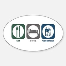 Eat Sleep Genealogy Oval Decal