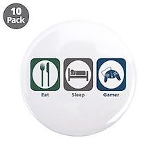 """Eat Sleep Gamer 3.5"""" Button (10 pack)"""