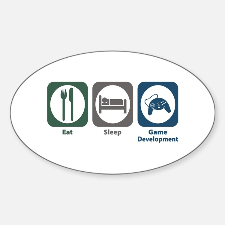 Eat Sleep Game Development Oval Decal