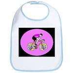 Abstract Bicycle Riding Print Baby Bib
