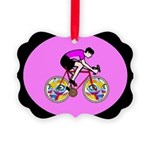 Abstract Bicycle Riding Print Picture Ornament