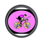 Abstract Bicycle Riding Print Wall Clock