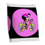Abstract Bicycle Riding Print Burlap Throw Pillow