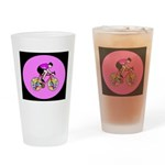 Abstract Bicycle Riding Print Drinking Glass