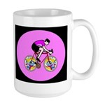 Abstract Bicycle Riding Print Mugs