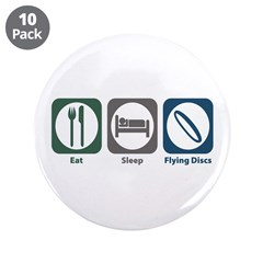 """Eat Sleep Flying Discs 3.5"""" Button (10 pack)"""