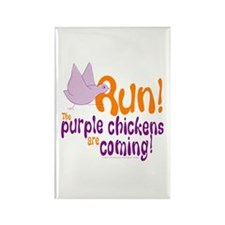 Purple Chickens Vertical Rectangle Magnet