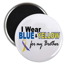 "I Wear Blue & Yellow....2 (Brother) 2.25"" Magnet ("