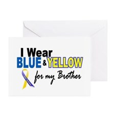 I Wear Blue & Yellow....2 (Brother) Greeting Cards