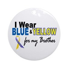 I Wear Blue & Yellow....2 (Brother) Ornament (Roun