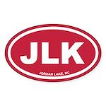 JLK Jordan Lake, NC Red Euro Oval Sticker