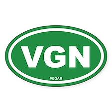 VGN Vegan Green Euro Oval Bumper Stickers