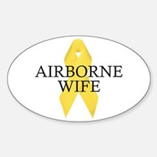 Airborne Wife Ribbon Oval Decal