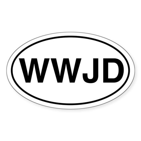 WWJD Oval Sticker