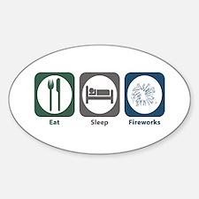 Eat Sleep Fireworks Oval Decal