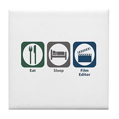 Eat Sleep Film Editor Tile Coaster