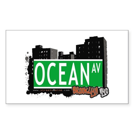 OCEAN AV, BROOKLYN, NYC Rectangle Sticker