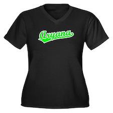 Retro Aryana (Green) Women's Plus Size V-Neck Dark
