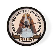 basset hound addict Wall Clock