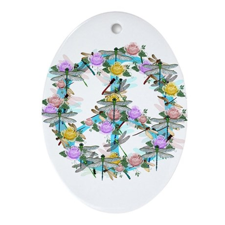 Dragonfly Peace Sign Ornament (Oval)