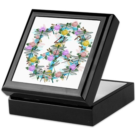 Dragonfly Peace Sign Keepsake Box