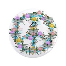 """Dragonfly Peace Sign 3.5"""" Button"""