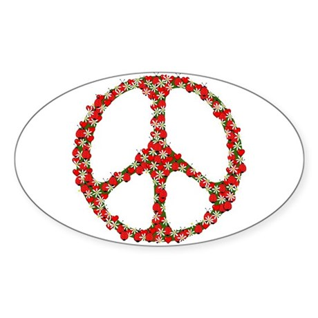 Ladybugs Peace Sign Sticker (Oval 50 pk)
