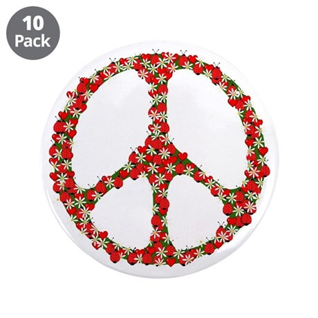 "Ladybugs Peace Sign 3.5"" Button (10 pack)"