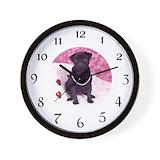 Black pug Wall Clocks