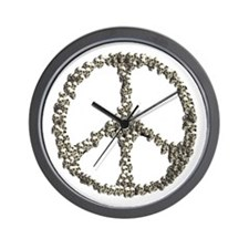 Skulls Peace Sign Wall Clock