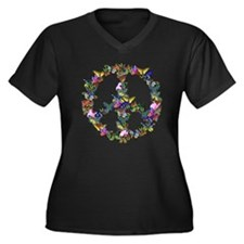 Butterflies Peace Sign Women's Plus Size V-Neck Da