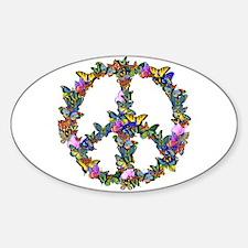 Butterflies Peace Sign Sticker (Oval)