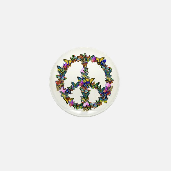 Butterflies Peace Sign Mini Button