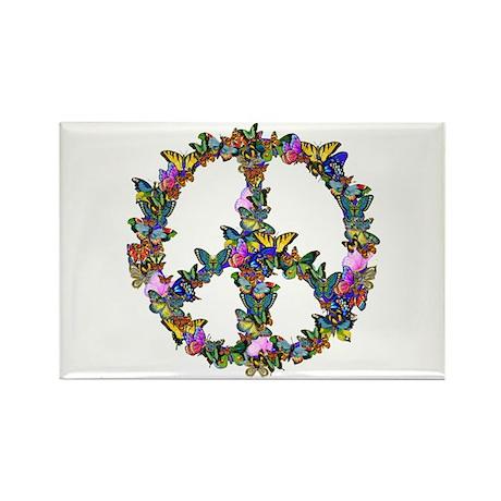 Butterflies Peace Sign Rectangle Magnet (10 pack)