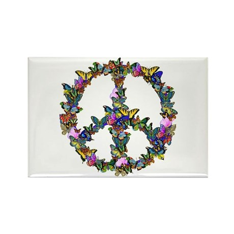 Butterflies Peace Sign Rectangle Magnet (100 pack)