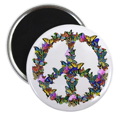 "Butterflies Peace Sign 2.25"" Magnet (10 pack)"