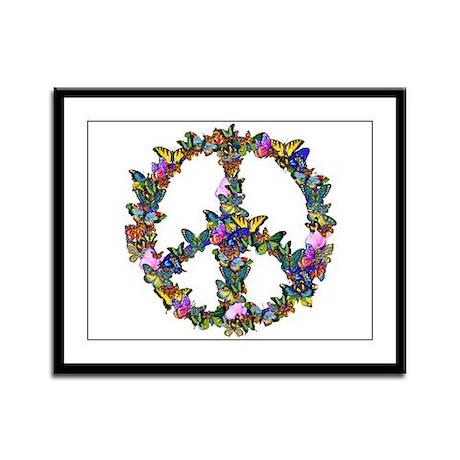 Butterflies Peace Sign Framed Panel Print