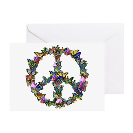 Butterflies Peace Sign Greeting Cards (Pk of 10)